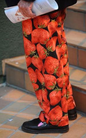Wimbledon fashion: Strawberry trousers