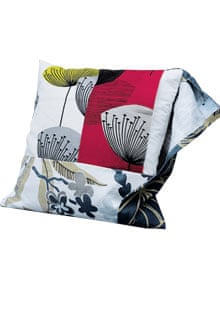 Cushion made from fabric swatches