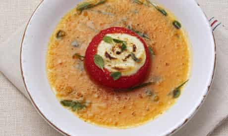 Garden tomato soup, baked goat's cheese & herb salad