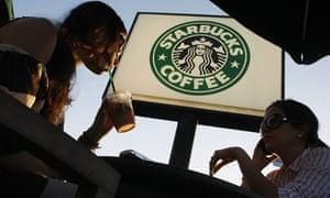 Drinking coffee at Starbucks