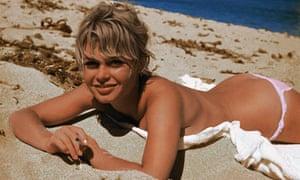 Brigitte Bardot sunbathing topless