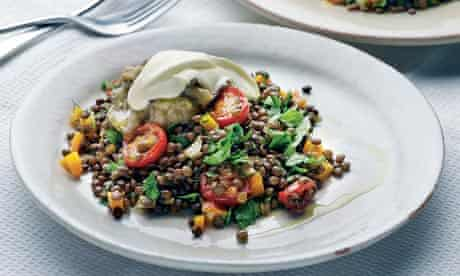Yotam Ottolenghi's lentils wiith grilled aubergine