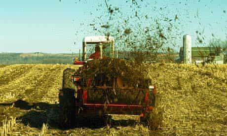 Farmer in a tractor spreading manure