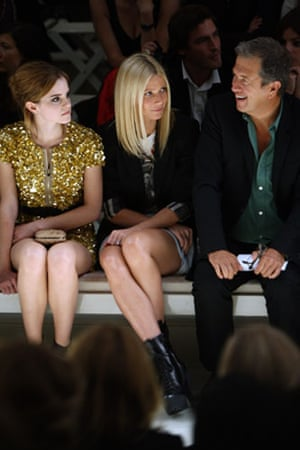 Burberry: Emma Watson, Gwyneth Paltrow and Mario Testino sit front row at Burberry