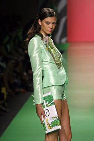 Milan Thursday shows: A model wears Enrico Coveri