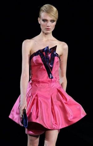 Milan Thursday shows: A model wears Giorgio Armani
