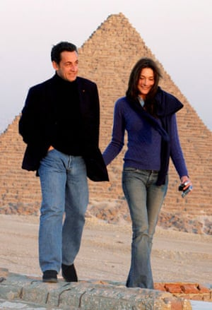 Short men: Nicolas Sarkozy with Carla Bruni in Egypt