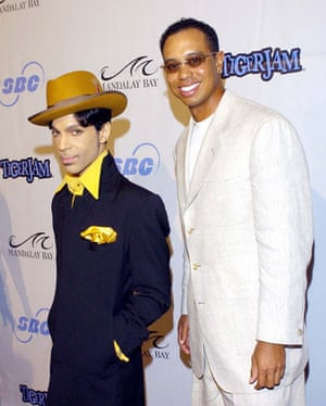 Short men: Prince and Tiger Woods on the red carpet