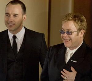 Short men: Elton John and David Furnish after their civil partnership in Windsor