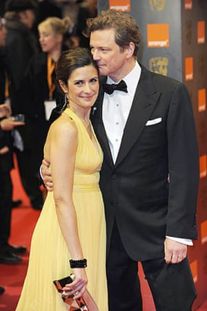 The Baftas red carpet: Colin Firth and Livia Giuggioli