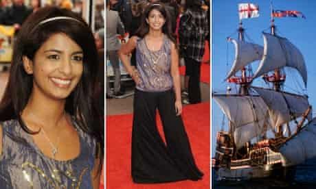 Konnie Huq at the Premiere of 'It's a Wonderful Afterlife' and a replica of the Golden Hind
