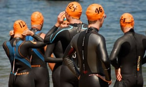 Swimmers prepare to cross the Hellespont