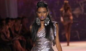 Lakshmi Menon models for Zac Posen in New York.