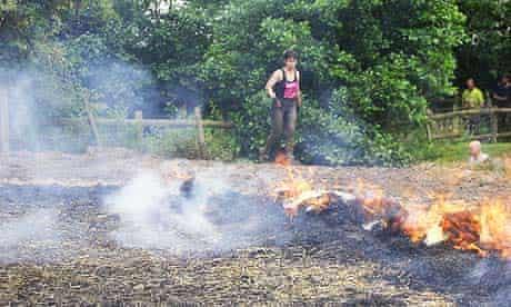 Running through fire during Tough Guy: Nettle Warrior