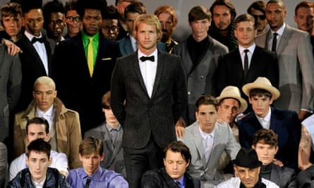 Sam Branson (centre) at Ozwald Boateng's show