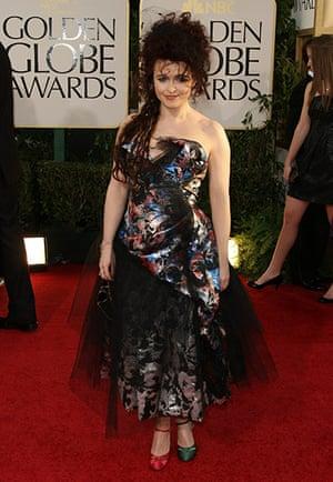 Golden globes fashion: Actress Helena Bonham Carter arrives on
