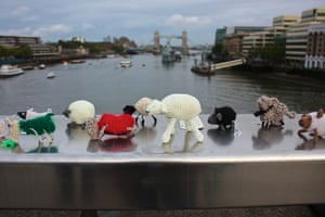 Knit the City: A herd of stitched sheep on London Bridge for Wool Week 2010