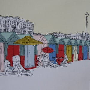 Stitch art: Beach Huts by Gillian Bates