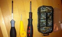 Screwdriver, bradawl, ratchet screwdriver and screws