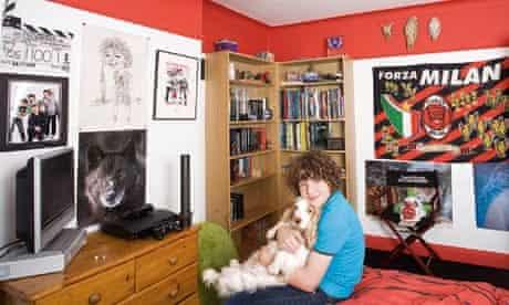 Daniel Roche in his bedroom