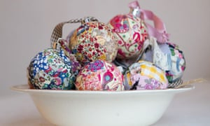 Bowl of patchwork Christmas baubles