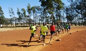 Kenyan athletes at the Run Fast training camp