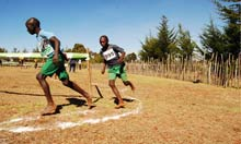 Running with the Kenyans - boys racing