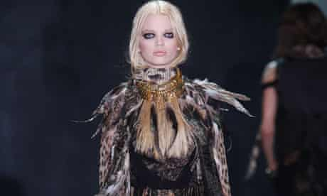 A model wears Roberto Cavalli at Milan fashion week Autumn/Winter 2011
