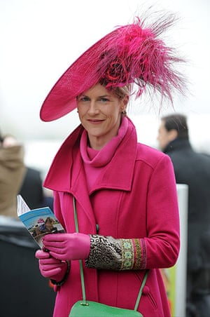 Cheltenham ladies day: A lady wearing pink at Cheltenham Festival