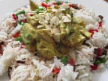 The National Gallery's lighter coronation chicken alternative – combined with a rice salad