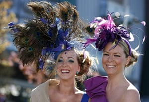 Ladies Day at Aintree: Two racegoers arrive for Aintree Ladies Day