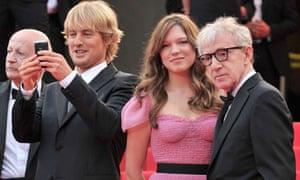 Actors Adrien Brody, Owen Wilson, Lea Seydoux and director Woody Allen at the Cannes Film Festival