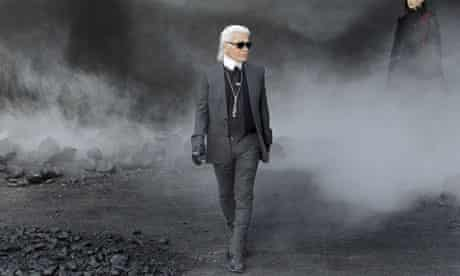 Karl Lagerfeld takes a bow at the end of the Chanel show
