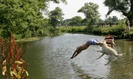 Man and a dog jumping into a river