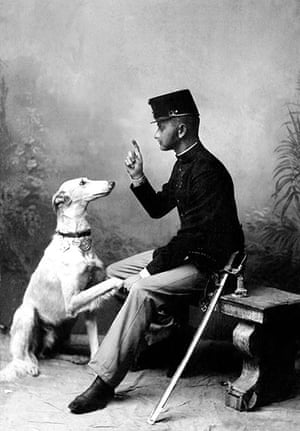 Vintage dogs: A soldier with his dog