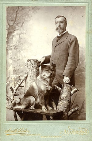 Vintage dogs: A man with his chow