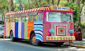 Wheel spun ... a yarnbombed bus in Mexico City.