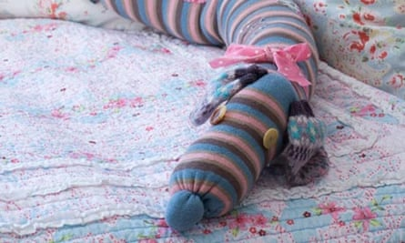 Sock pup-pet ... a completed sausage-dog draught excluder