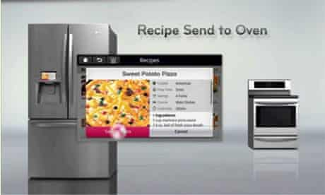 The LG smart fridge communicating with the oven