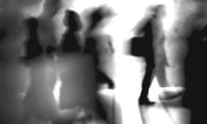 Silhouettes, blurred, b&w