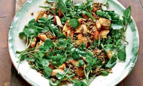 Roasted parsnip puy lentil and watercress salad