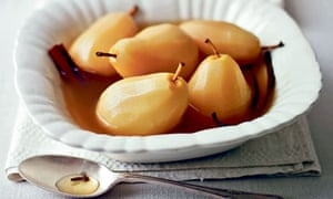 Pears poached in sauternes, cardamom and ginger