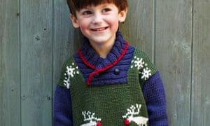 Debbie Bliss's reindeer jumper, as modelled by Frankie