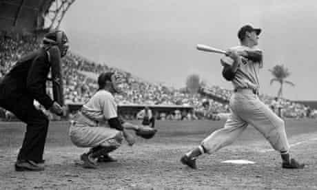 Baseball players Yogi Berra and Ted Williams and umpire Ed Rommel