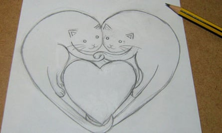 Valentine's collage: draw out your design in pencil