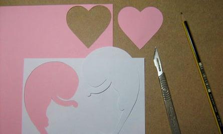 Valentine's collage: cut out the traced shapes from the paper