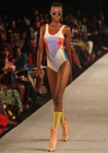An outfit by designer David David, Lagos fashion week
