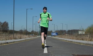 Hard road to travel … unsighted distance runner Simon Wheatcroft.