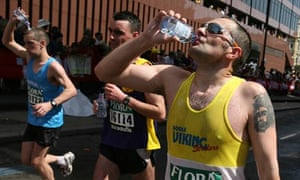 Drinking water at the London Marathon