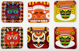 India meets china: Mask coasters, £5 each, by The Play Clan